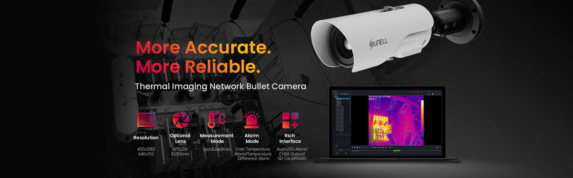 Thermal Imaging Temperature Measurement Bullet IP Camera
