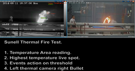 Sunell thermal imaging camera test for temperature detection of fire